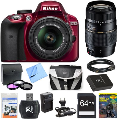 D3300 DSLR 24.2 MP HD 1080p Red Camera with 18-55mm and 70-300mm Lens Bundle