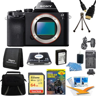 Alpha 7 a7 Digital Camera 64 GB SDHC Card, Battery Bundle