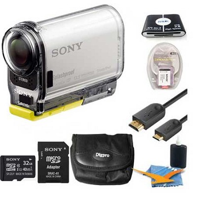 HDR-AS100V/W HD POV Action Camera with 3-Inch LCD (White) Bundle