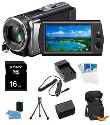 HDR-CX190 HD Camcorder 25x Optical Zoom 5.3 MP Stills (Black) Bundle