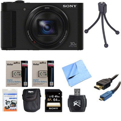 Cyber-Shot DSC-HX90V Digital Camera 3-Inch LCD Screen Black 64GB Deluxe Bundle