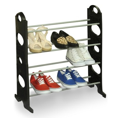 12 Pair Shoe Rack with 4 Tiers - Black