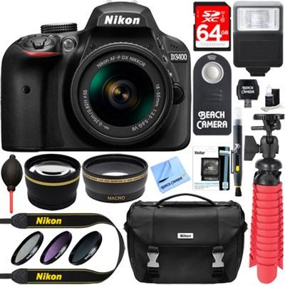 D3400 24.2 MP DSLR Camera w/ AF-P DX 18-55mm VR Lens Kit + Memory Bundle (Black)