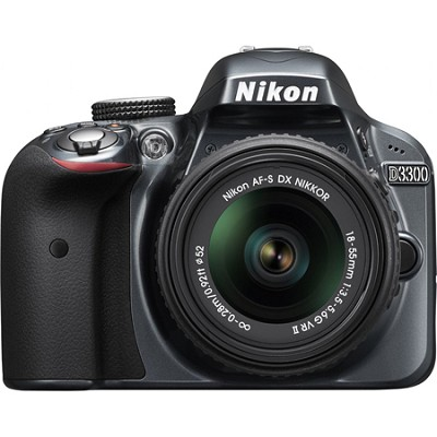 D3300 DSLR 24.2 MP HD 1080p Camera with 18-55mm Lens - Grey