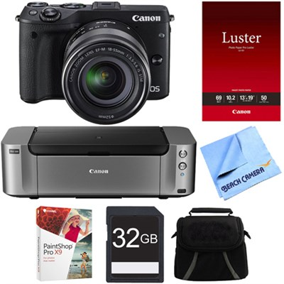 EOS M3 Wi-Fi Digital ILC Camera Black w/ EF-M 18-55mm Lens PIXMA Printer Bundle