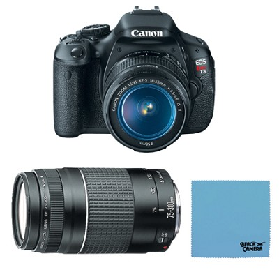 EOS Digital Rebel T3i 18MP SLR Camera 18-55mm & 75-300mm Bundle