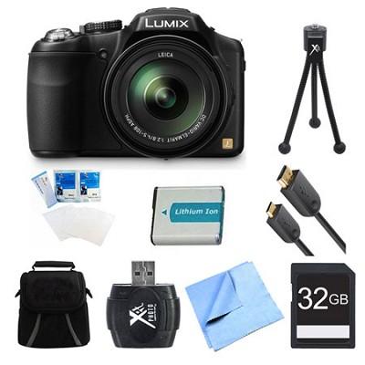 LUMIX DMC-FZ200K Digital Camera 32GB and Battery Bundle