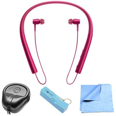 Wireless In-ear Bluetooth Headphones w/ NFC - Bordeaux Pink w/ Power Bank Bundle