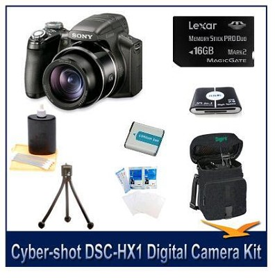 Cyber-shot DSC-HX1 9.1 MP Digital Camera w/16 GB, Reader, Tripod, Case & More