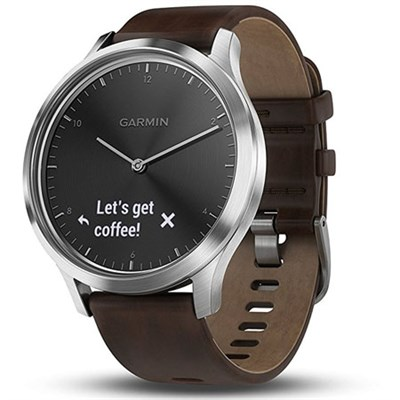 Vivomove HR, Premium, Stainless Steel w/ Leather Band (Large)