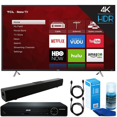 49` Class S-Series 4K UHD Roku Smart LED TV 2017 + DVD Player + Sound Bar Bundle