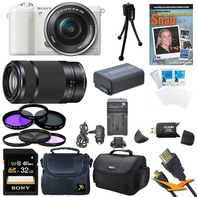 a5100 Mirrorless Camera w/ 16-50mm and SEL 55-210 Lenses 32GB White Bundle