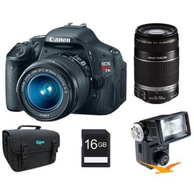EOS Digital Rebel T3i Camera w 18-55mm, 55-250mm IS Lenses, Flash, 16GB, Case