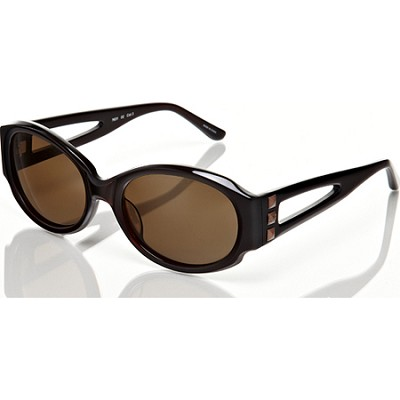 Brown w/Brown Lens Keyhole and Stud Detail Sunglasses