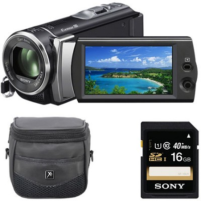 HDR-CX190 1920x1080 Full HD 25x Optical Zoom Camcorder + 16GB Card & Case Bundle