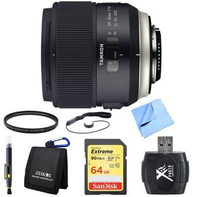 SP 35mm f/1.8 Di VC USD Lens for Nikon Mount 64GB SDXC Card Bundle