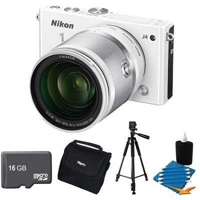 1 J4 Mirrorless Digital Camera with 10-100mm Lens White Kit