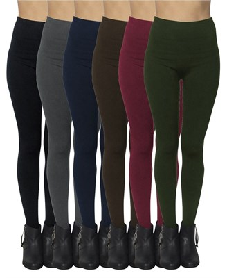 6-Pack Fleece Leggings (Assorted Colors) One Size