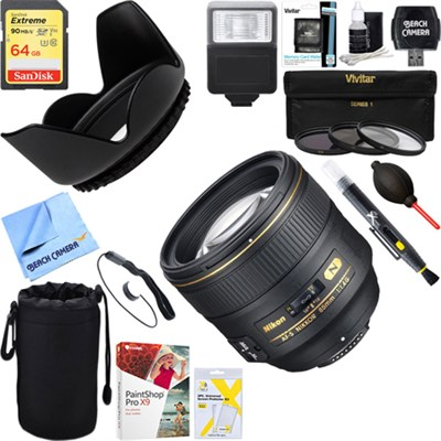 85mm f/1.4G AF-S NIKKOR Lens for Nikon Digital SLR 2195 +64GB Ultimate Kit