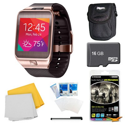 Gear 2 Brown Watch, Case, and 16GB Card Bundle