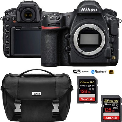 D850 45.7MP Full-Frame FX DSLR Camera (Body) with Dual 64GB Pro Memory Cards