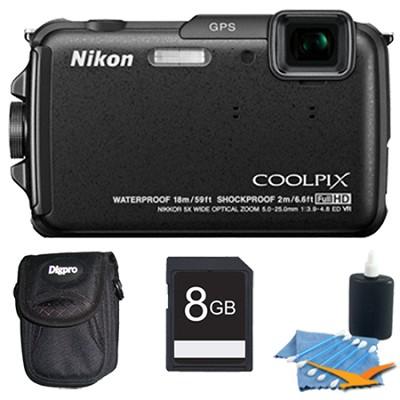 COOLPIX AW110 16MP Water/Shock/Freezeproof Black Digital Camera Plus 8GB Kit