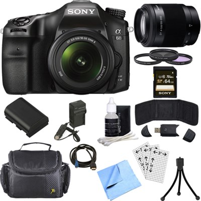 ILCA68K/B a68 A-Mount 24.2 Digital Camera w/ 18-55mm + 55-200mm Lens 64GB Bundle