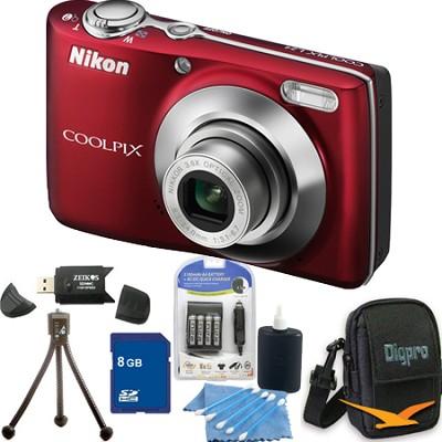COOLPIX L24 14MP Red Digital Camera 8GB Bundle