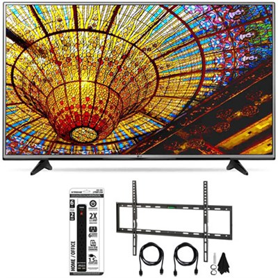 65UH6030 - 65-Inch 4K UHD Smart LED TV w/ webOS 3.0 Flat Wall Mount Bundle