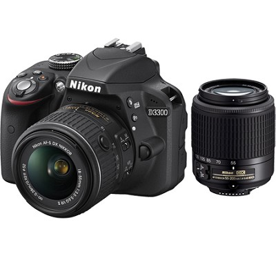 D3300 24.2 MP SLR with 18-55 VR II + Nikon 55-200  Lens Certified Refurbished
