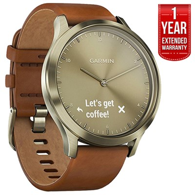 Vivomove HR, Premium, Gold Tone w/ Leather Band + Extended Warranty
