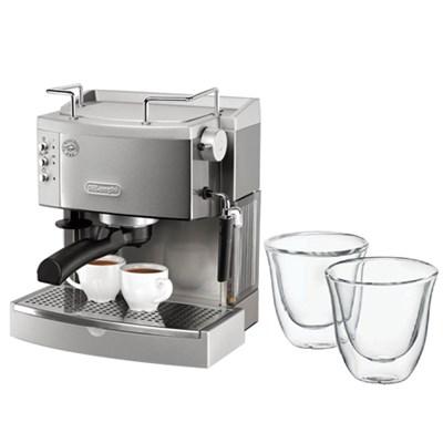 S.Steel Pump Espresso Maker  w/ Double Walled Thermo Espresso Glasses, Set of 2
