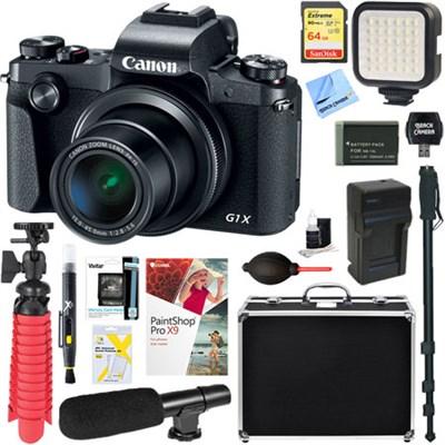 PowerShot G1 X Mark III Digital Camera (Black) + 64GB Memory & Microphone Bundle