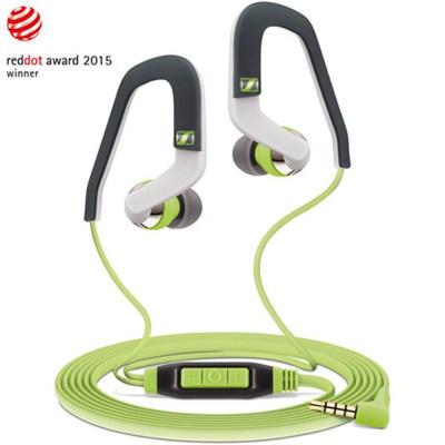 MX 686i Sports Earbud Headphones w/ Controls for Apple iOS (Green/Grey)