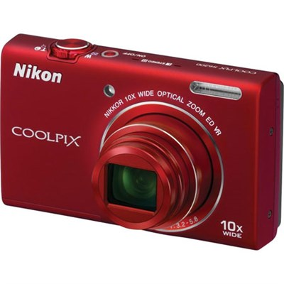 COOLPIX S6200 16MP Digital Camera 10x Optical Zoom (Red) - Refurbished