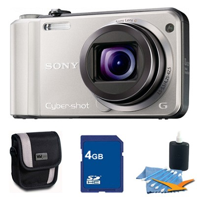 Cyber-shot DSC-H70 Silver Digital Camera 4GB Bundle