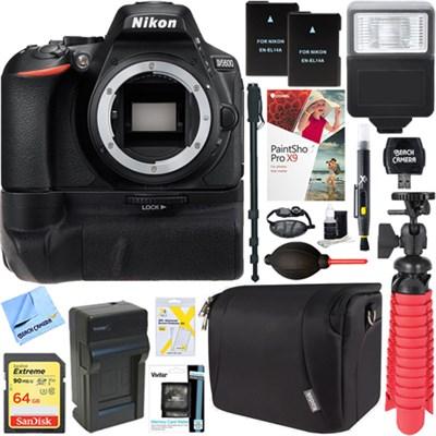D5600 24.2MP Digital SLR Camera (Body Only) + 32GB Battery Grip Accessory Bundle