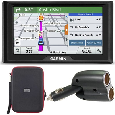Drive 60LM GPS Navigator (US and Canada) 010-01533-07 Case + Car Charger Bundle