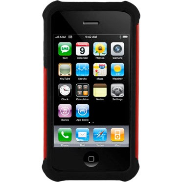 iPhone 4/4S Ballistic Shell Gel (SG) Series Case - Black/Red