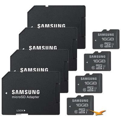 16GB PRO MicroSDHC Memory Card - 4-Pack (Adapter, 70 MB/s, UHS-1 Class 10)