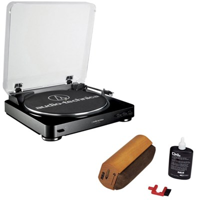 AT-LP60 Fully Automatic Stereo Turntable System- Black w/ RCA Turntable Cleaning