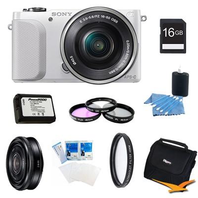 NEX-3NL White Digital Camera 16-50mm Lens 16GB 20mm f/2.8 Lens Bundle