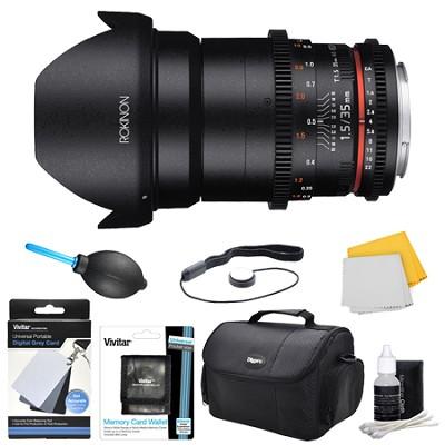 DS 35mm T1.5 Full Frame Wide Angle Cine Lens for Nikon Mount Accessory Bundle