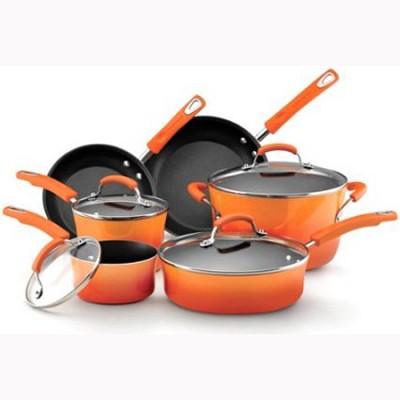 Porcelain Enamel II Nonstick Cookware Set, 10-Piece - Orange (11480)