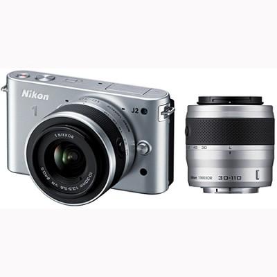 1 J2 SLR Silver Digital Camera w/ 10-30mm & 30-110mm VR Lenses (27586)