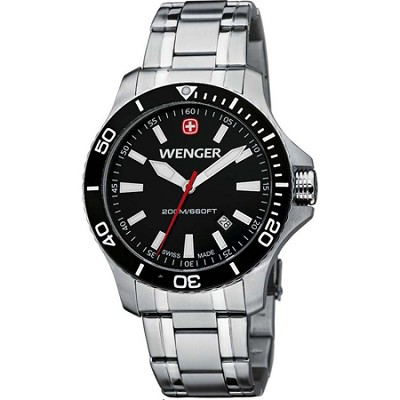 Men's Sea Force Swiss Watch - Black Dial/Stainless Steel Bracelet