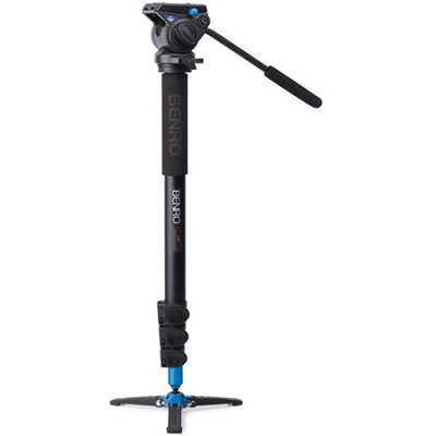 Video Monopod with Flip Lock Legs, S4 Head and 3 Leg Base (Black) - A48FBS4