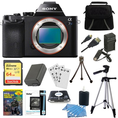 ILCE-7S/B a7S Full Frame Camera 64GB SDHC Card, Battery & Tripod Bundle