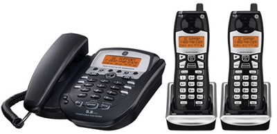 Corded Desktop Phone with Two 5.8GHz 2 Edge Cordless Handsets