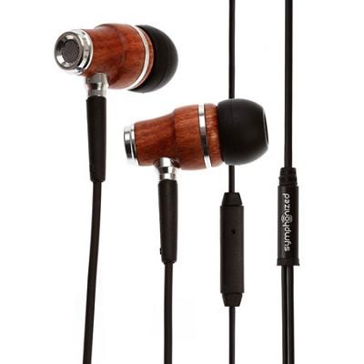 NRG Premium Genuine Wood In-ear Noise-isolating Headphones with Mic (Black)